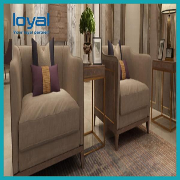 Customized Hotel Lobby Furniture High Back Sofa Chair Wing Back #2 image